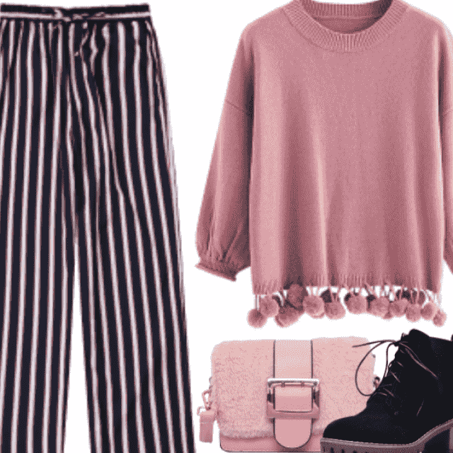 Chic style with pink sweater and stripped pant