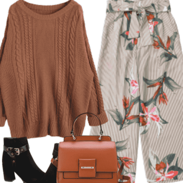 Campus Chic with floral pants and boots