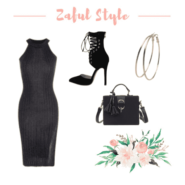 Form fitting black high neck slit dress with black shoes and gold hoops