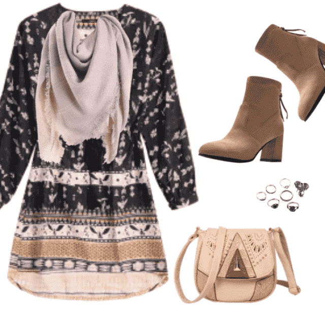 Fansy printed dress, Daily Hippie look,