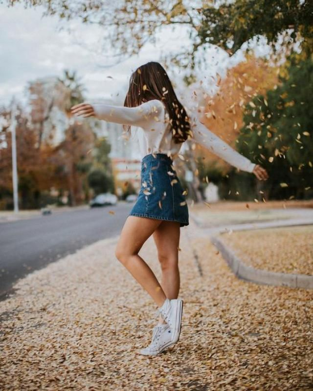 Casual denim skirt. Autumn perfect