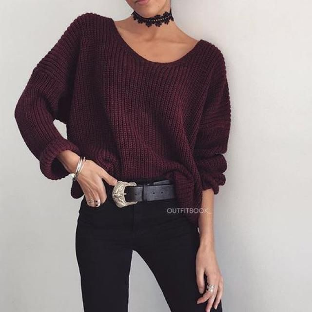These Hollowed Flower Choker and Boat Neck Loose Sweater in Wine Red slay my entire existance