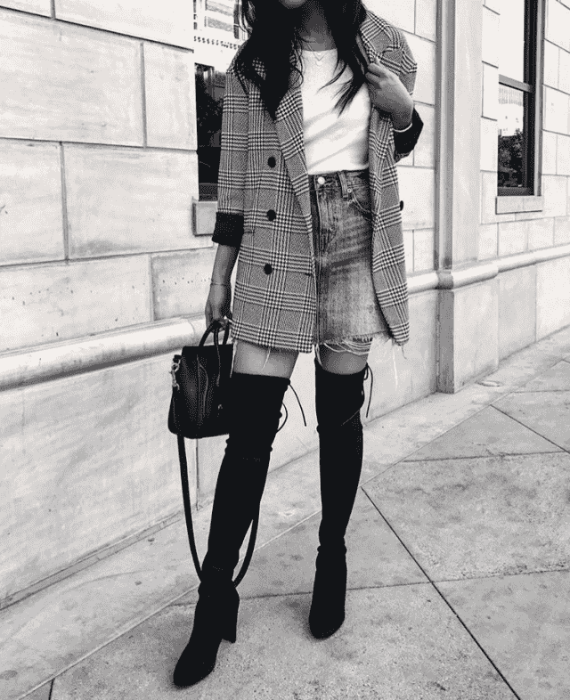 Boots, skirt, bag and nice blazer is today`s look
