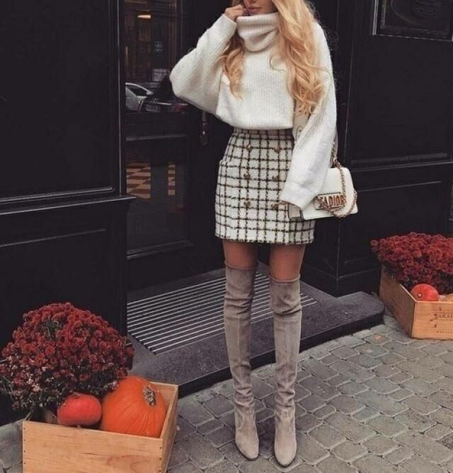 Wha a cute outfit i love the plaid skirt with long boots and turtleneck sweater is so perfect