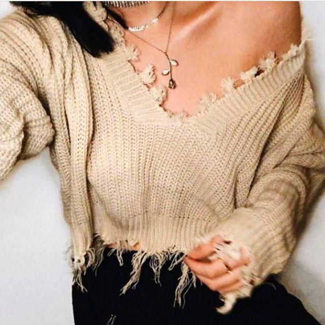 Love the style of this ripped sweater available now on Zaful