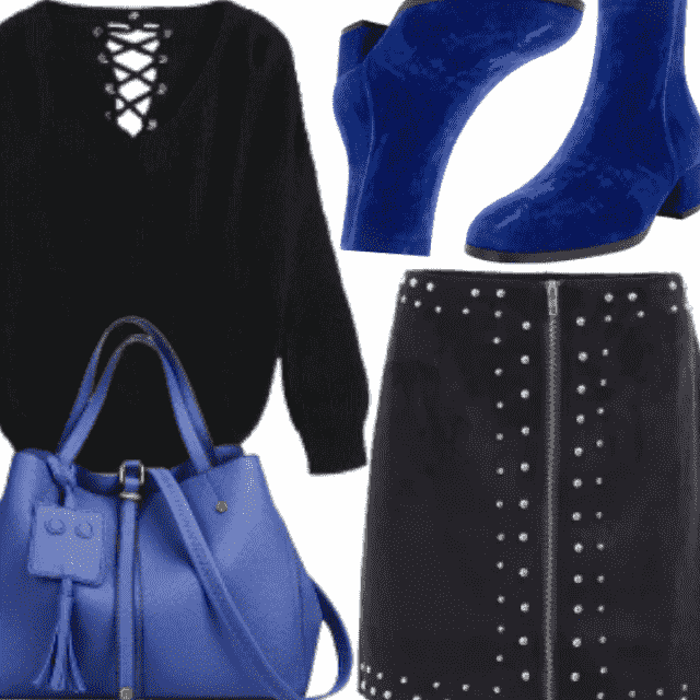 Winter's Color Is Royal Blue , Style It With Black To Look Perfect