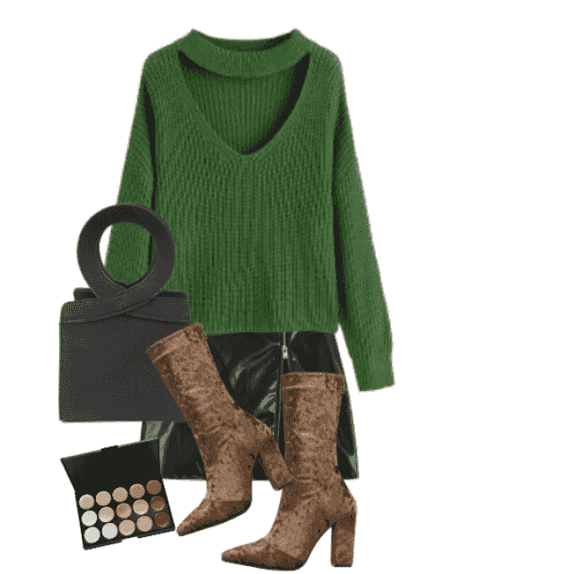Best and beautiful boots - perfect combo with the skirt and green sweater