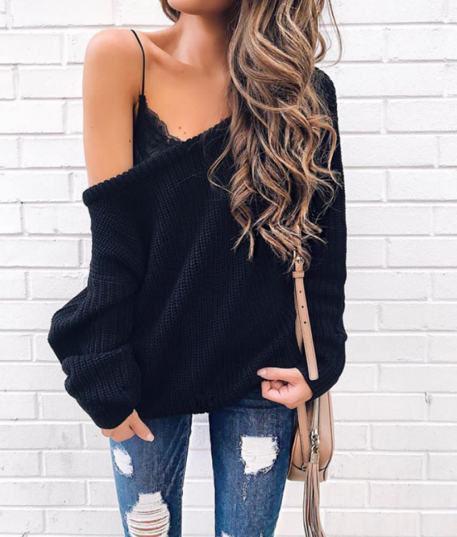 Sweater and jeans is very cool