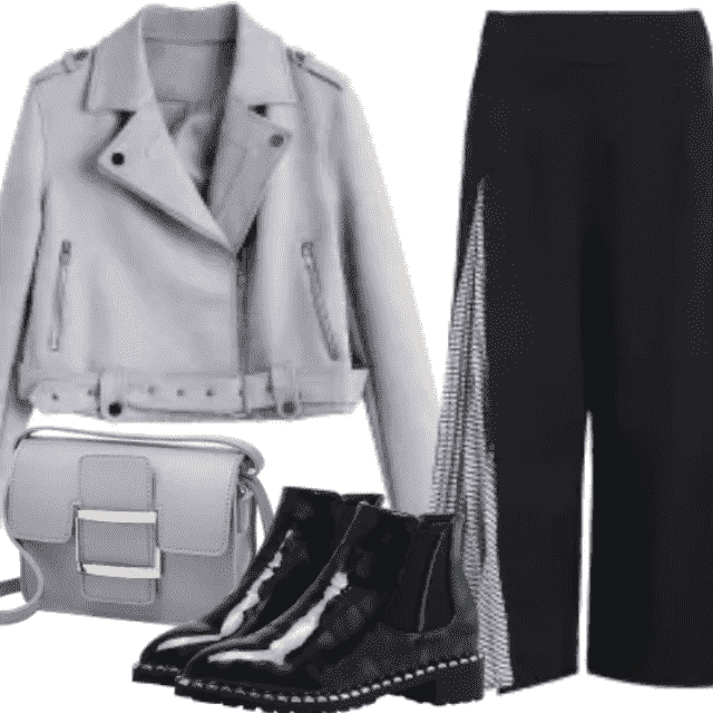 Fancy evening with fancy stuff. Gray jacket have so beautiful fabric color. These pants have adorable mater…