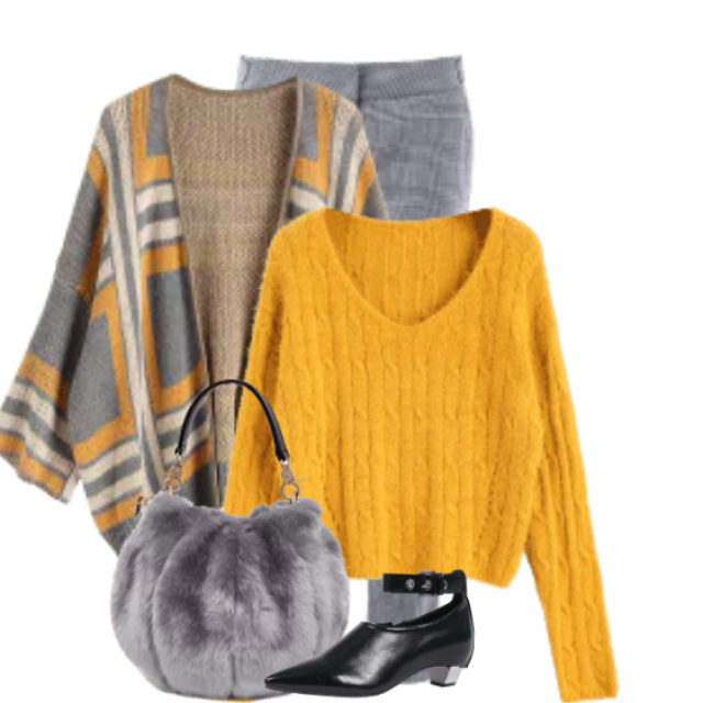Great combo with this knitted sweater and the grey pants