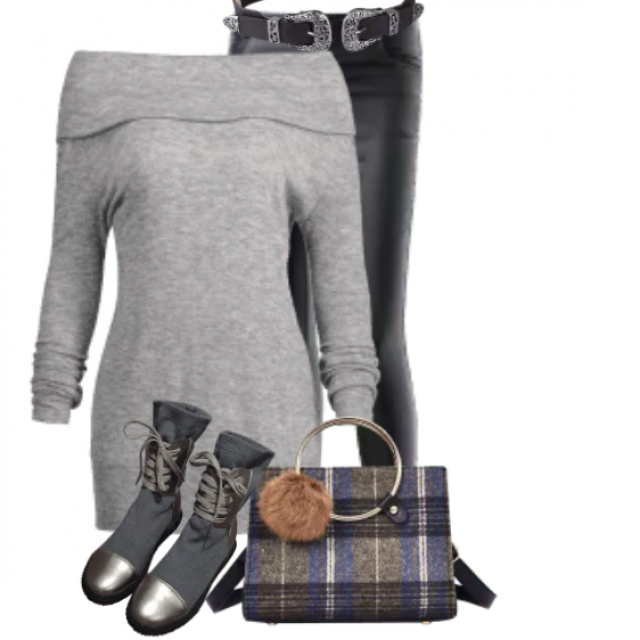 Perfect grey sweater - great combo with the pants and boots
