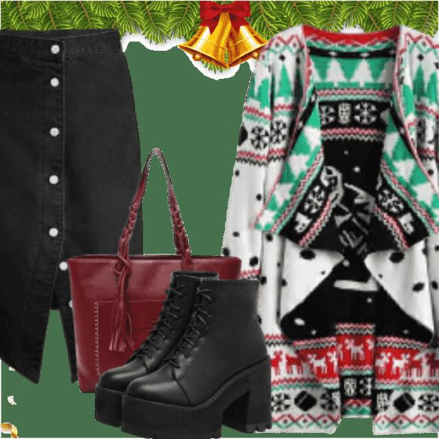 c19297b87d0 #christmas #christmassweater #sweater2017 #girlboss #btslook #shoeslover  #bagslover #denimlove