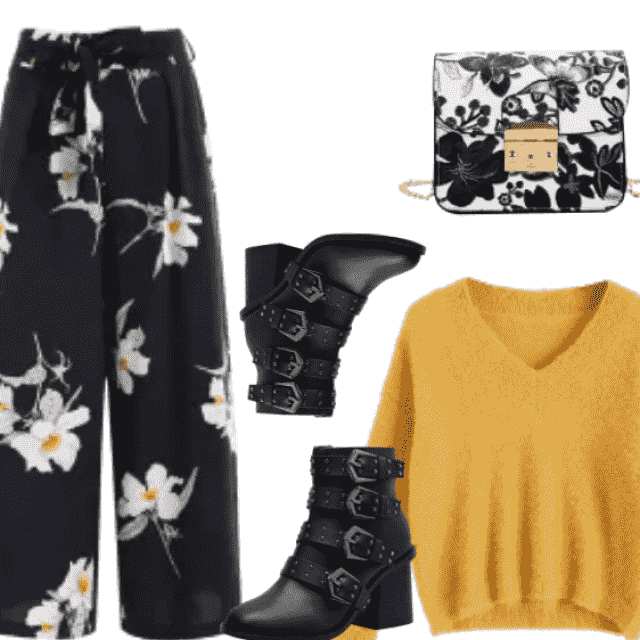 High waisted black floral pants for elegant women.