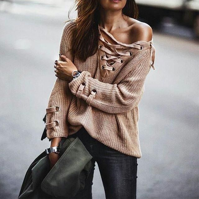 Weather for sweater. What's your thoughts on this lace up sweater?