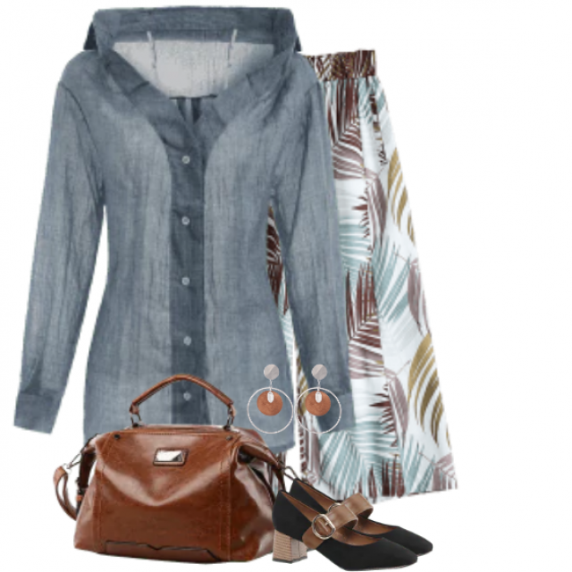 Great combo - printed pants with this beautiful blouse