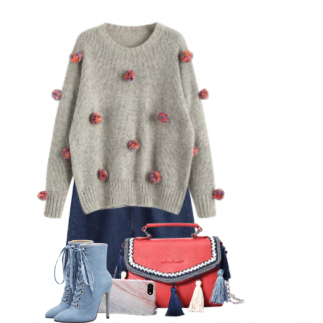 Beautiful and fancy bag, great details - perfect match with the sweater