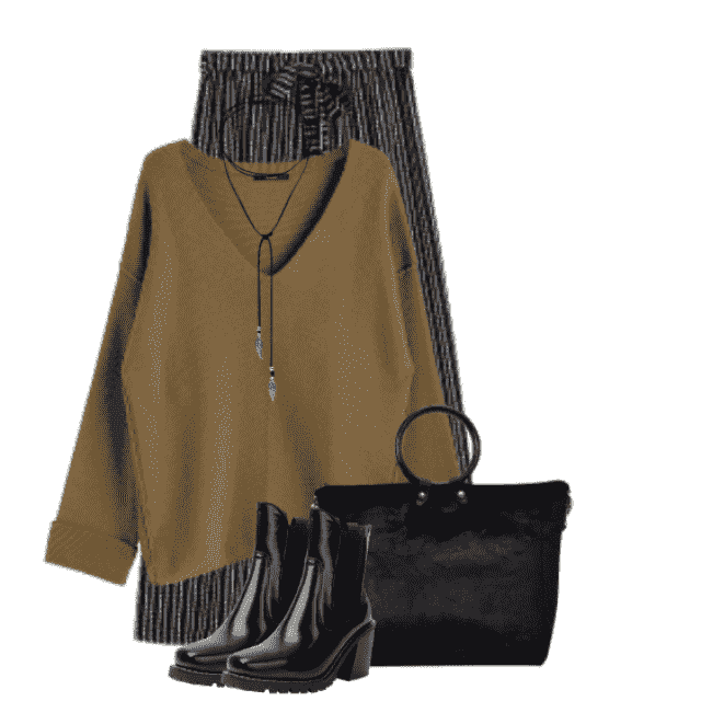 Gorgeous combo - beautiful sweater with the striped pants