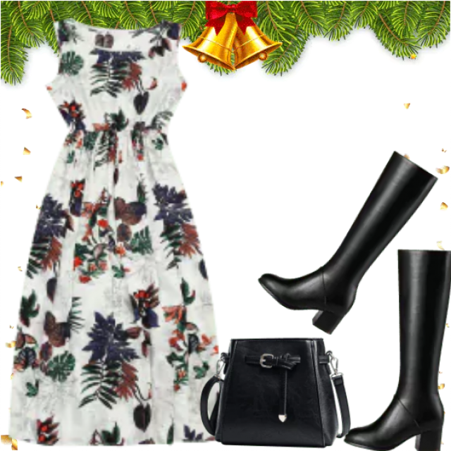 Christmas style with white dress in floral design.