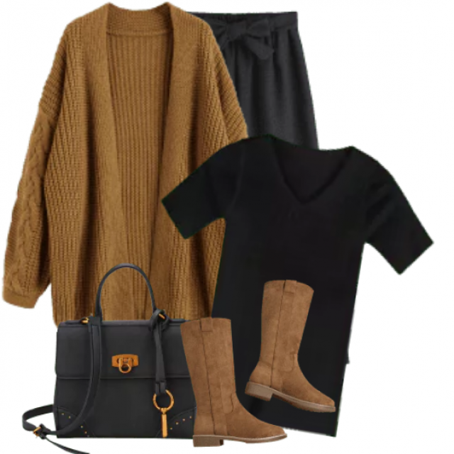 Beautiful and trendy Cardigan - perfect match with the black shirt