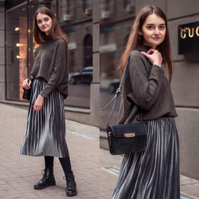 Metallic Color Shiny Midi Pleated Skirt!!!