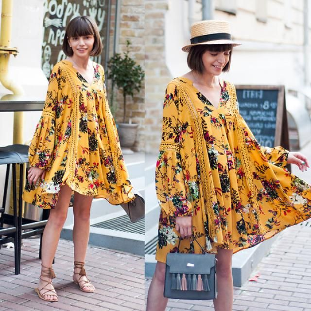 Cut Out Floral Tunic Dress !!!