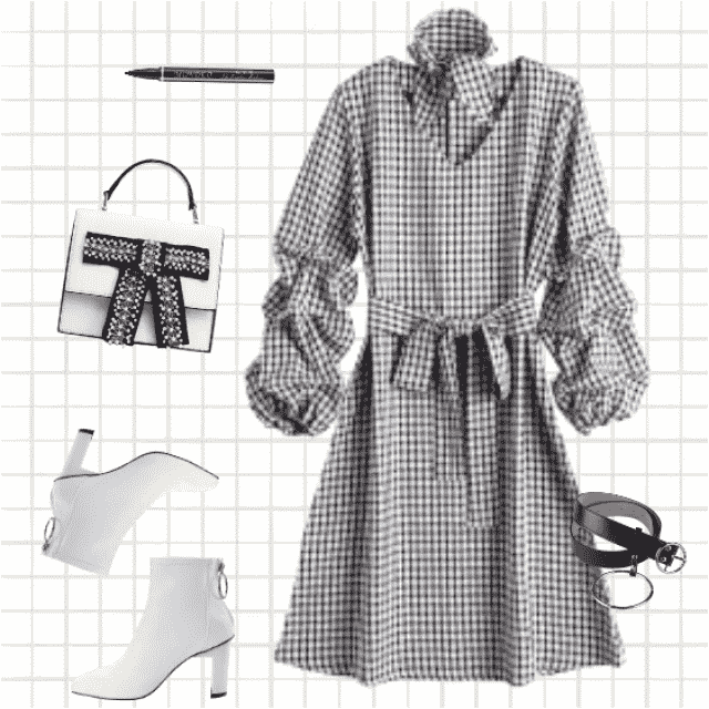 Urban, modern outfit for self-confident business women. Good choice for the office, club, business lunch…