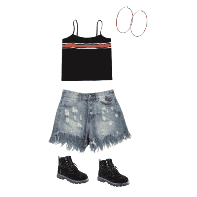 this outfit it very casual with the high waisted blue ripped shorts wit a very simple but eye catching top. Also the bo…