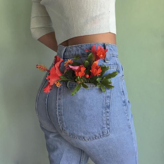 Taking floral jeans to another level.