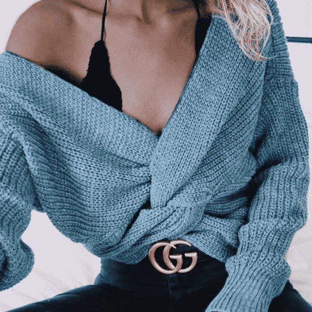 V Neck Twisted Back Sweater!