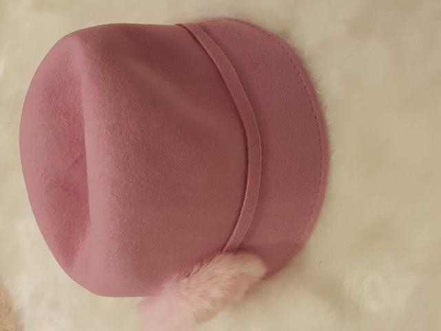 Pink hat.