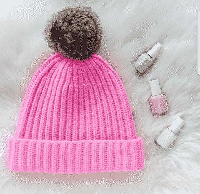 Pink beanie.