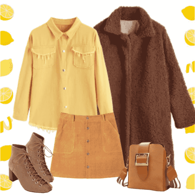 Stylish, warm, winter outfit in - this year very modern - shadows of brown.