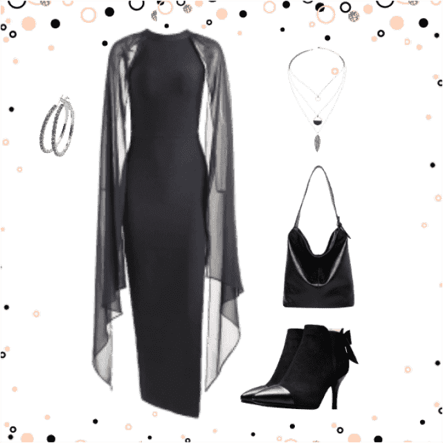 Black party outfit with silver jewelry.  Happy New Year 2018 to everyone.