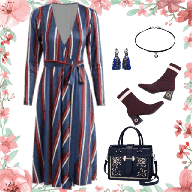 Charming and elegant outfit with interesting accessories.