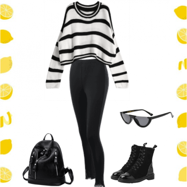 Cool black and white outfit.