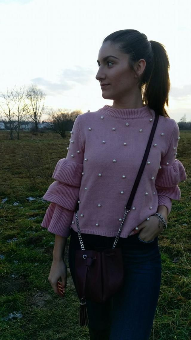 Gorgeous pink sweater with perals!