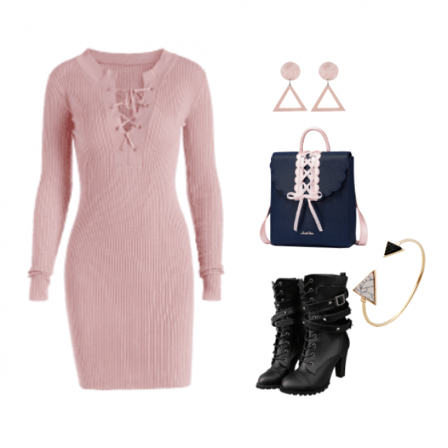 Cute pink dress and cute accessories.