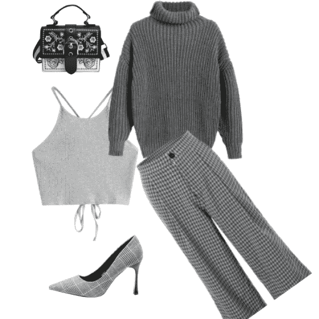 Cool all gray outfit.