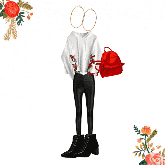 A nice crop top sweater with roses on the arms, leather  jeans as pants, a nice lace up ankle boots, hoop earrings and …