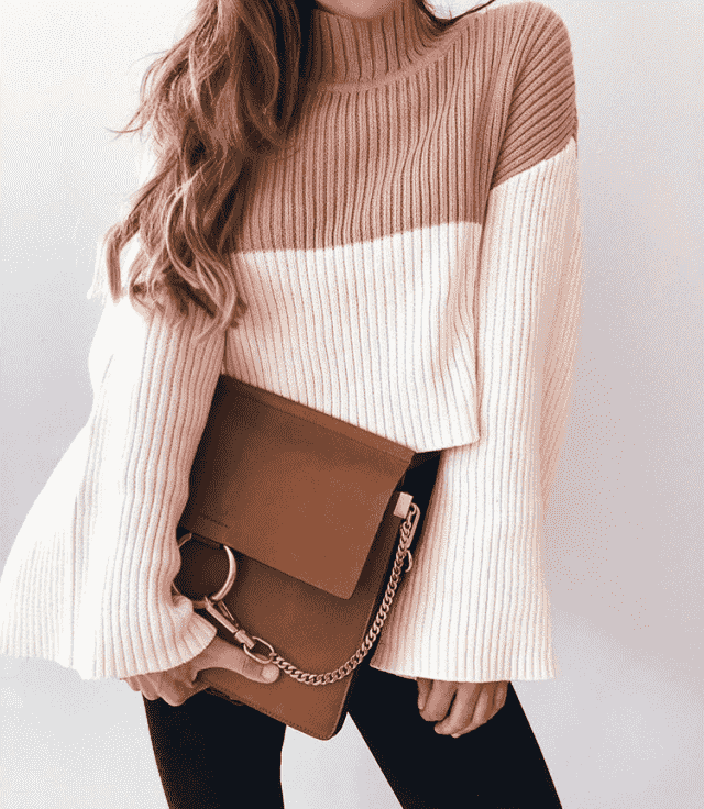 Sweater and brown bags in Zaful colection