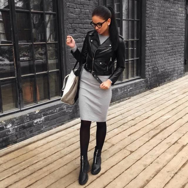This outfit is super cute is perfect for everyday wear love the faux leather jacket with this gray sweater dress