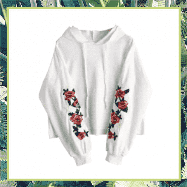 a soft, comfy, multi-gender hoodie with beautiful embroided roses down the sleeves, makes a great gift, or is a great p…
