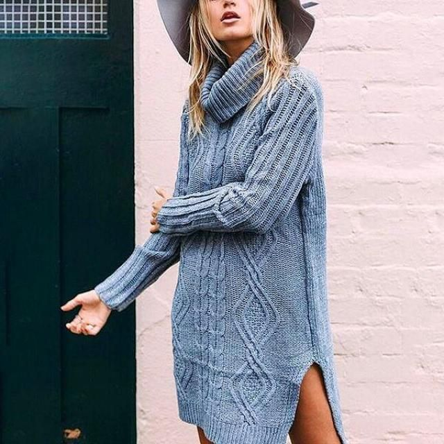 long sweater dress is so cool
