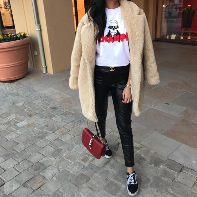 love this casual look and those faux leather pants are gorgeous  very flattering