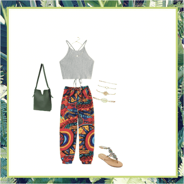This outfit consists of fun bohemian pants, accompanied by a tight light grey top for the ultimate comfort and summerti…