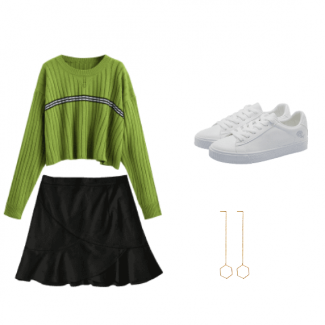 Cute warm sweater contrasted with a mini skirt, socks and sneakers- of course!:)