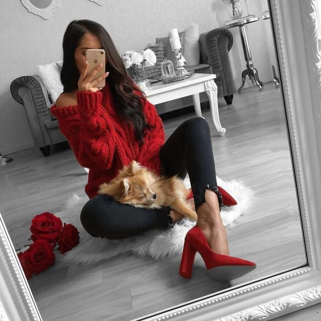 For a valentine look try this red sweater with black jeans and this gorgeous shoes