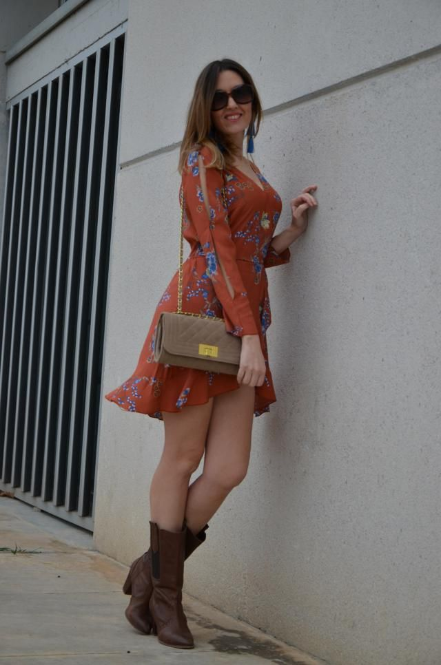 Love this wrap brown dress!