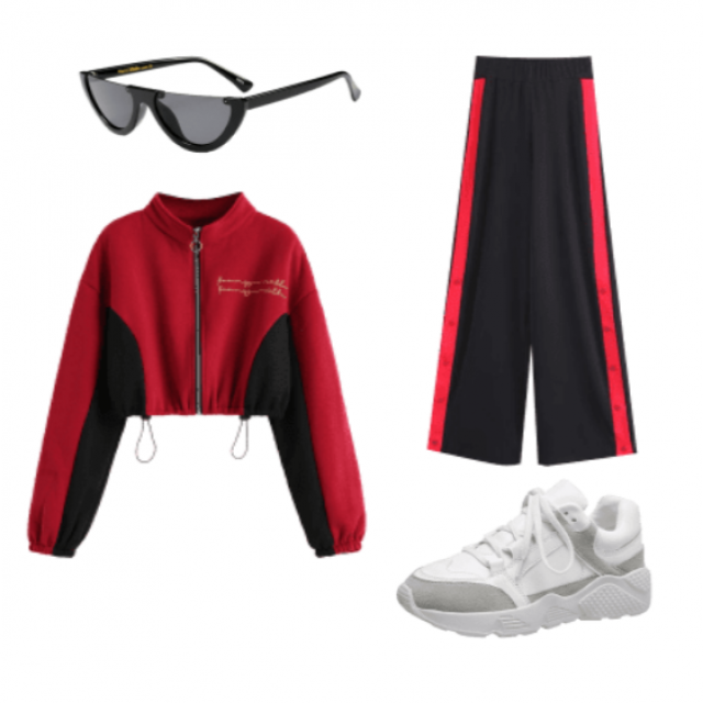 Sporty yet super feminine outfit. Side buttons allow for a sexier look by keeping them unbuttoned and showing some leg.…