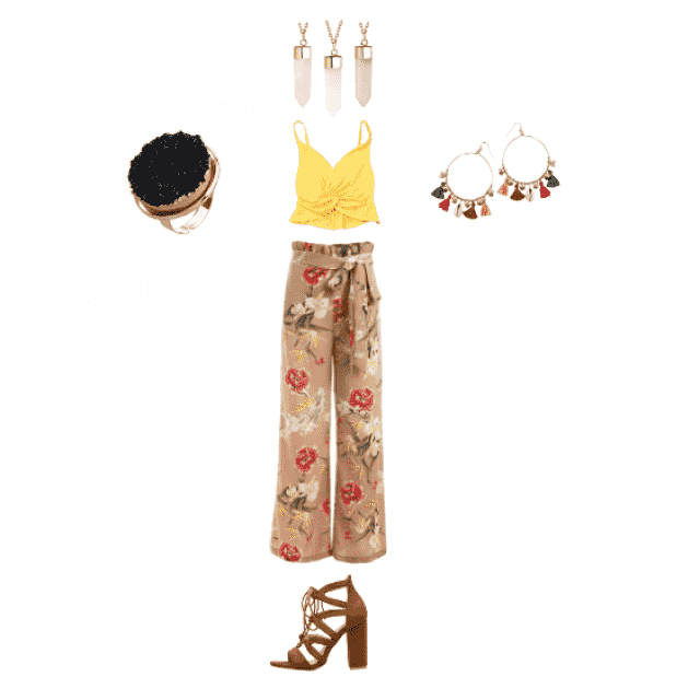 Another music festival outfit. This is kind of bohemian, I like the flower-printed loose pants and the beautiful jewelr…